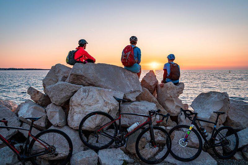 Epic Slovenia gravel bike tour piran sunset