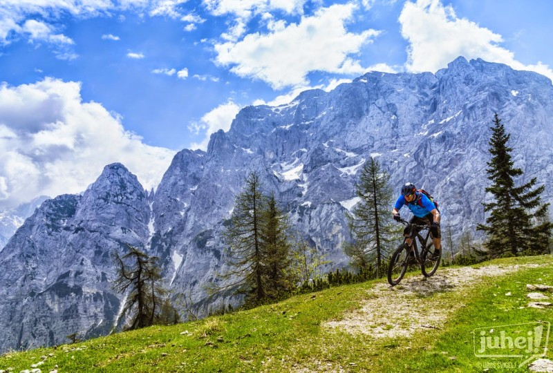 Mountain biking among Julian Alps