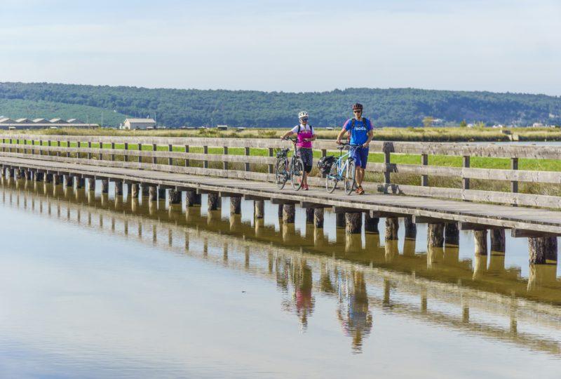 biking through soline on the coast