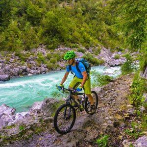 trans slovenia river soča bike