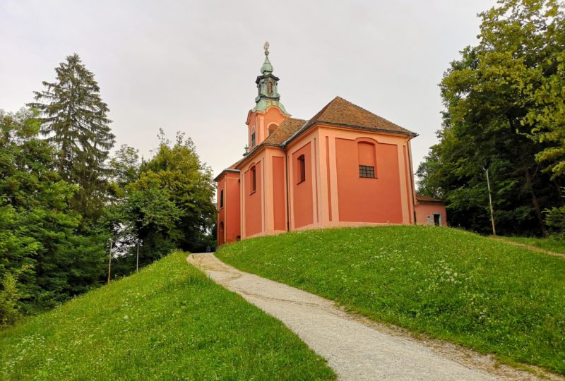 orange church on rožnik hill in ljubljana
