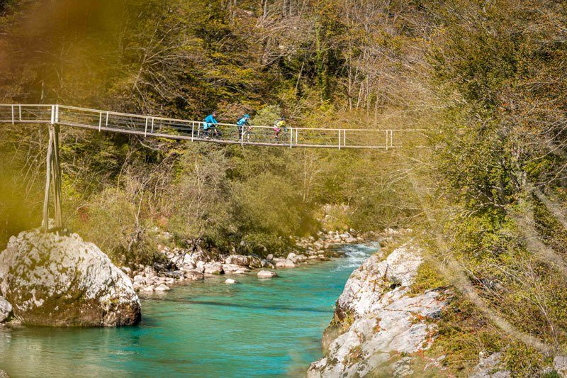 Around Triglav National Park cycling bridge Soca Valley