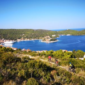 View of croatian islands marine exploring with bike