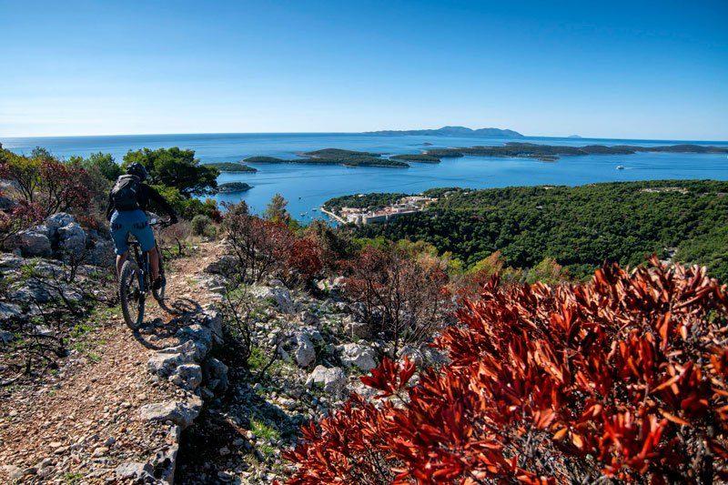 Trans Croatia island downhill with sea view