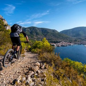 Trans Croatia single trail with sea view