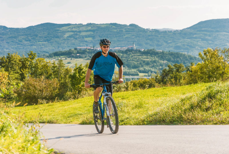 cyclist in vipava valley