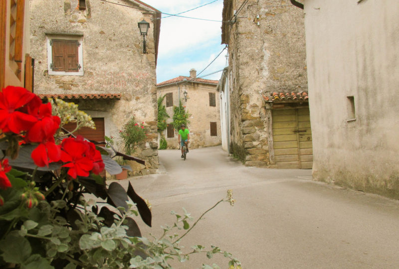 gravel bike in streets of vipava valley