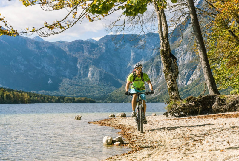cyclist near bohinj lake
