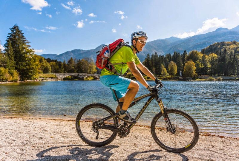 cyclist near bohinj lake