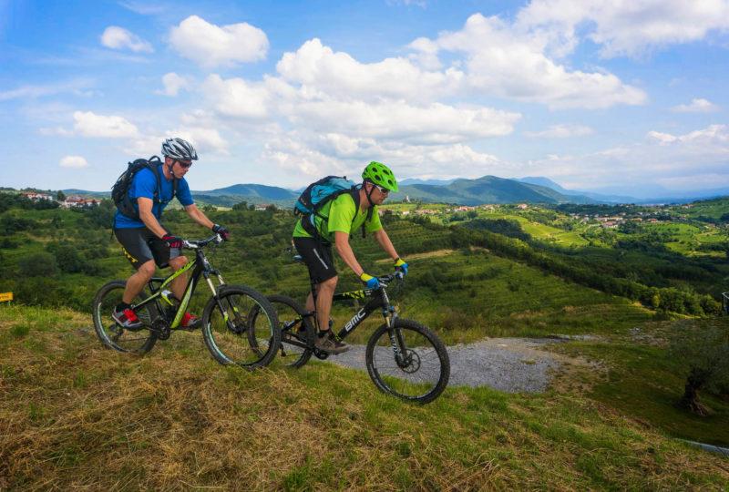 two mountain bikers in goriska brda