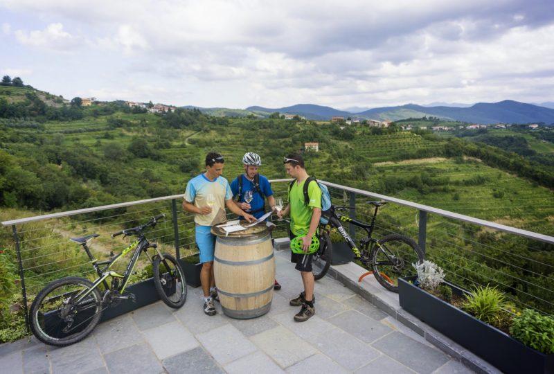 bikers and panoramic view of goriska brda