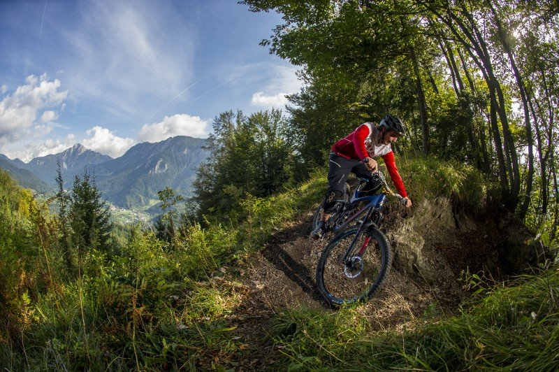 Mountain biker in bike park