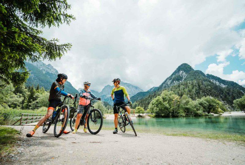 bike slovenia green lake jasna