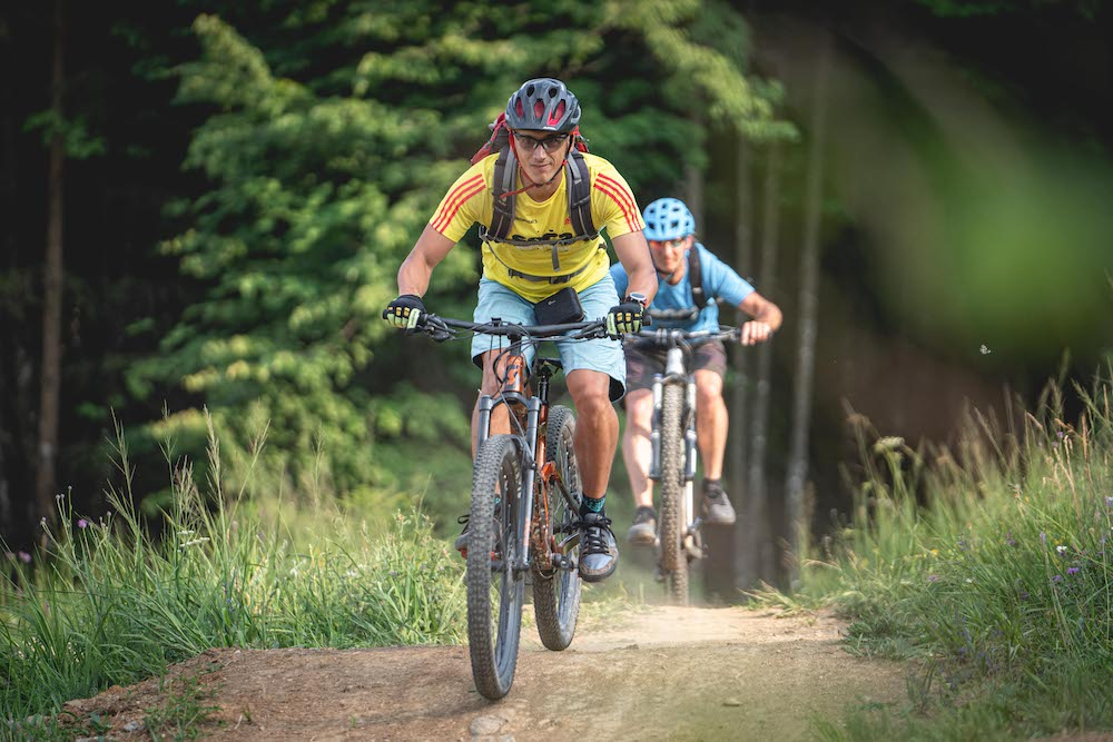 Slovenia green capitals tour mountain bikers in action